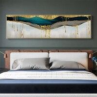Абстрактный зеленый Сияющий Золотой Холст Картина золотой пигмент плакат Современные настенные художественные картины для гостиной Синий...