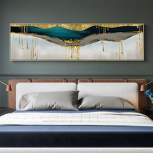 Abstract Green Shining Dold Canvas Painting Golden Pigment Poster Modern Wall Art Pictures for Living Room Blue Print Decoration