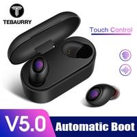 TEBAURRY Bluetooth наушники 5,0 TWS мини беспроводные наушники с сенсорным управлением 3D стерео бас Беспроводные наушники с зарядным устройством