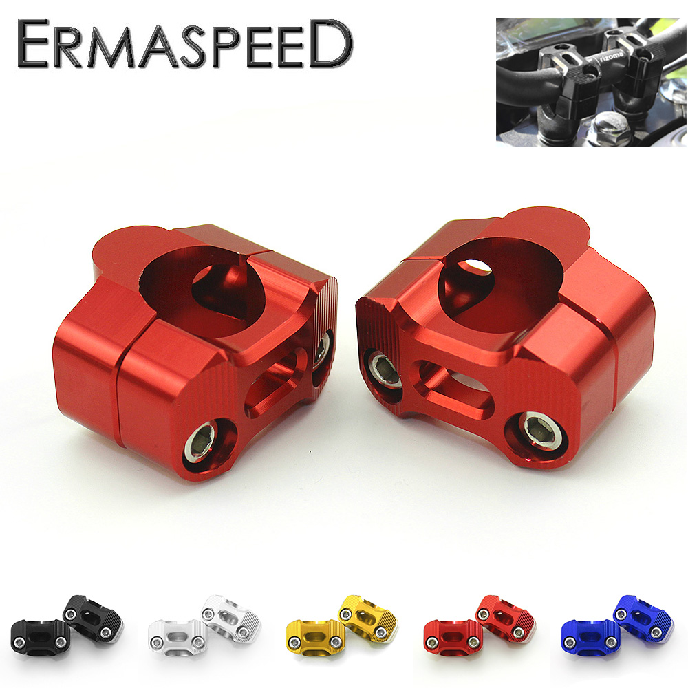 Pair 1 1/8 CNC Aluminum Motorcycle Handlebar Risers 28mm Adjustable Fat Bar Clamps Universal for Honda Kawasaki Ducati Yamaha kemimoto motorcycle bar clamps raised handlebar handle bar risers for 22mm 7 8 28mm 1 1 8 for yamaha r1 r3 r6 for suzuki gsxr
