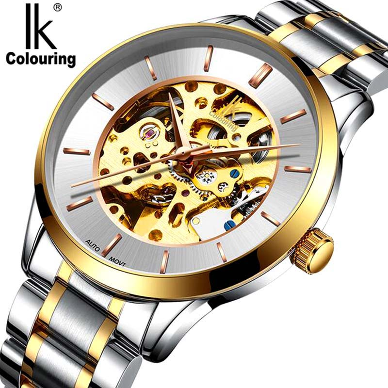 IK Colouring Retro Hollow Golden Watches Top Brands Luxury Watch Men Skeleton Mechanical Stainless Steel Wristwatch Original Box ik colouring automatic double sided hollow casual men s skeleton dial horloge auto mechanical wristwatch original box watch
