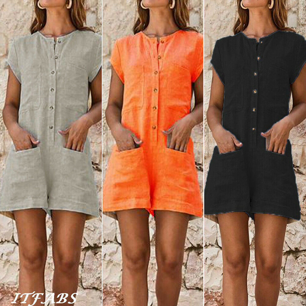 2019 New Women Rompers With Pocket Ladies Clubwear Shorts Button Playsuit Bodycon Party Jumpsuit Shorts Plus Size 3XL 4XL 5XL