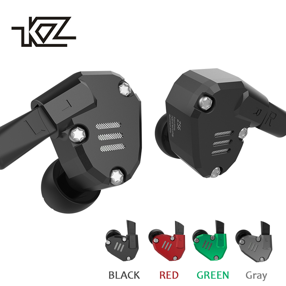 KZ ZS6 Headphones 2DD 2BA Eight Driver Earphone Hybrid In Ear HIFI Stereo Sport Headset Detachable