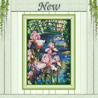 ไอริสสระว่ายน้ำหงส์ทะเลสาบทิวทัศน์ภาพวาดดอกไม้