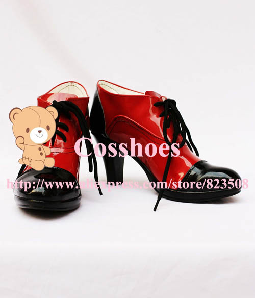 รองเท้าบูท Conerlia ทำเองจากบัตเลอร์สีดำ Kuroshitsuji คอสเพลย์