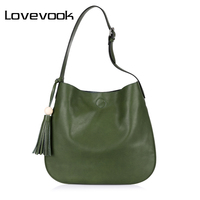 REALER Brand Fashion Women Bucket Tassel Design Bag Artificial Leather Bag Female Shoulder Bag Ladies Handbag