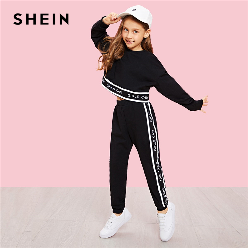 SHEIN Black Girls Lettering Trim Casual Pullover And Pants Set Kids Clothing 2019 Spring Active Wear Long Sleeve Girls Clothes tracksuit girls sports suits autumn clothes long sleeve sweatshirt pants sets for girl black white clothing 9 10 12 14y