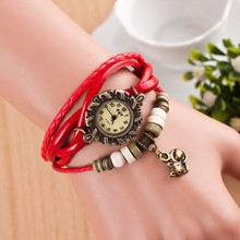 Reloj Mujer Sweet kitten Pendant Leather Strap font b Wooden b font beads Retro Casual Ladies