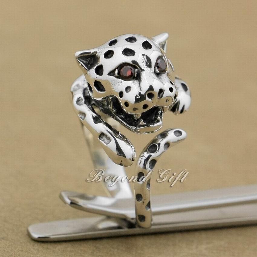Bagues pour femmes 925 argent Sterling léopard rouge CZ yeux mode bague 9K002 taille libre 6 ~ 9.5 - 3