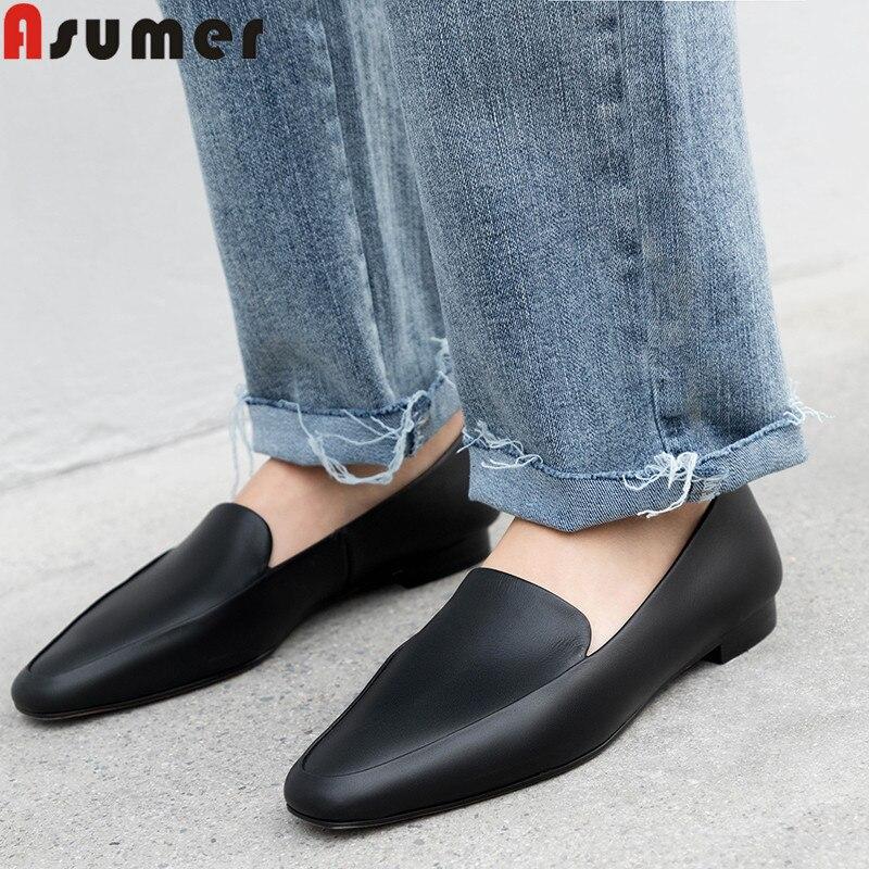 ASUMER 2019 nouvelles chaussures femme bout carré peu profond en cuir véritable chaussures femmes décontracté appartements femmes sans lacet bateau chaussures femmes