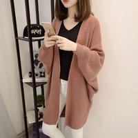 Autumn New Fashion Women Sweater Coat Slim Loose Knit Sweater Mid Section Solid Cardigan Wild Knitted