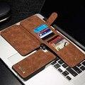 Luxo original genuine caso capa de couro com zíper carteira de cartão de titular caso saco do telefone móvel para o iphone 7 multifunções js0069