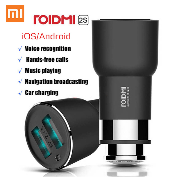 Original Xiaomi Car Charger Roidmi 2S Bluetooth Handfree Call USB 5 in 1 Charging Music Player FM Transmitters for Android iOS