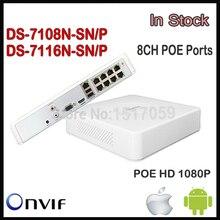 Hikvision mini nvr cctv ds-7104n-sn/p 4 portów poe ds-7108n-sn/p ds-7116n-sn/p 8 porty nadzoru rejestrator nvr poe kamera ip