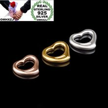 OMHXZJ Wholesale Personality Fashion OL Woman Girl Party Gift Silver Gold Rose Heart 925 Sterling Pendant Charm CH40