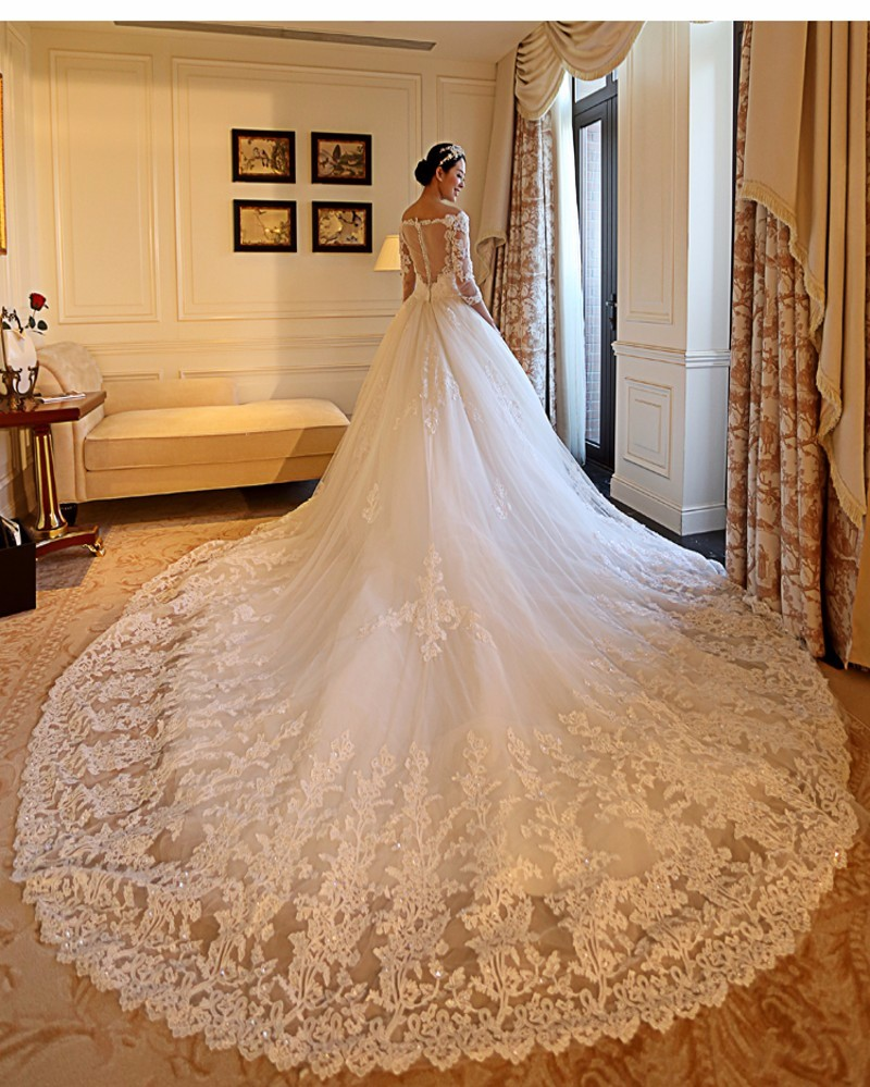 Plus-Size-V-neck-Half-Sleeve-Cathedral-Royal-Wedding-Dress-2016-Luxury-Long-Train-Vestido-De