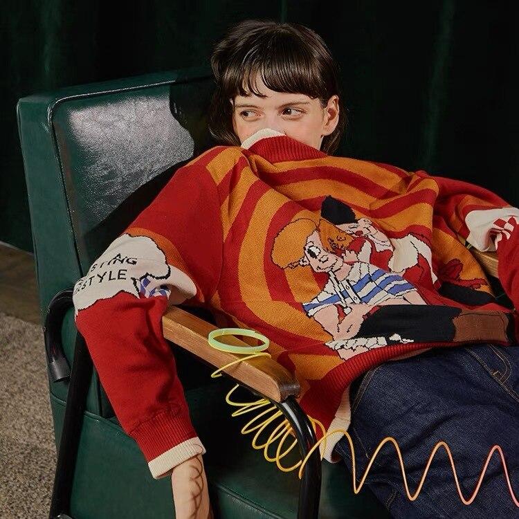 Épaissir Pull Vintage Chandail Coton Femmes Tricoté D'hiver Tops Chandails Tricots Automne Roulé Col Nouveau Rouge Chaud xFwqzEYF
