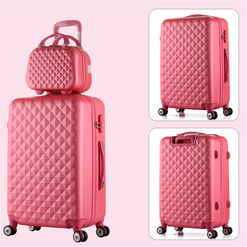 Universal wheels luggage suitcase trolley luggage travel bag candycolor picture box password box pull box 14 20 22 24 26 28 sets 2024inch universal wheels luggage abs mute rolling travel bag password lock trolley suitcase colorful hand pull box