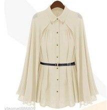 Elegant Women Button Down Shirt Summer Party Chiffon Cape Blouse Tops with Belt