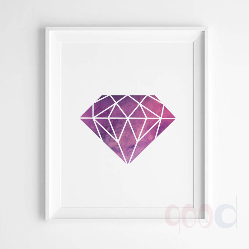 Watercolor Purple Diamond Canvas Art Print Poster Wall Pictures for Home Decoration Wall decor FA281 3-in Painting u0026 Calligraphy from Home u0026 Garden on ...  sc 1 st  AliExpress.com & Watercolor Purple Diamond Canvas Art Print Poster Wall Pictures for ...