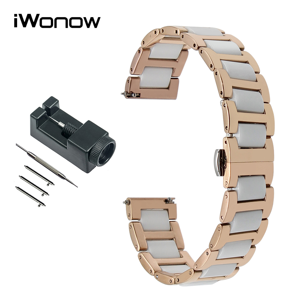 16mm Ceramic & Stainless Steel Watchband for Moto 360 2 42mm Women Huawei Talkband B3 Fossil Q Accomplice Watch Band Wrist Strap replacement genuine leather wrist watchband strap for huawei talkband b3 watch