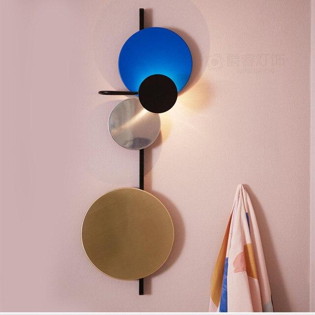 الشمال لوفت متعدد الألوان المعادن دائرة مستديرة وحدة إضاءة LED جداريّة مصباح الفن لتقوم بها بنفسك نمط كوكب وحدة إضاءة LED جداريّة الشمعدانات فندق السرير ديكرو إضاءة داخلية