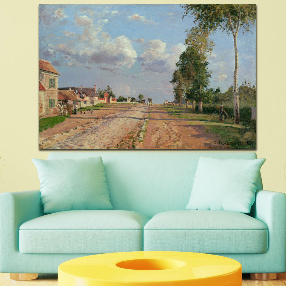 Large Size Printing Road Camille Pissarro Route From Wall