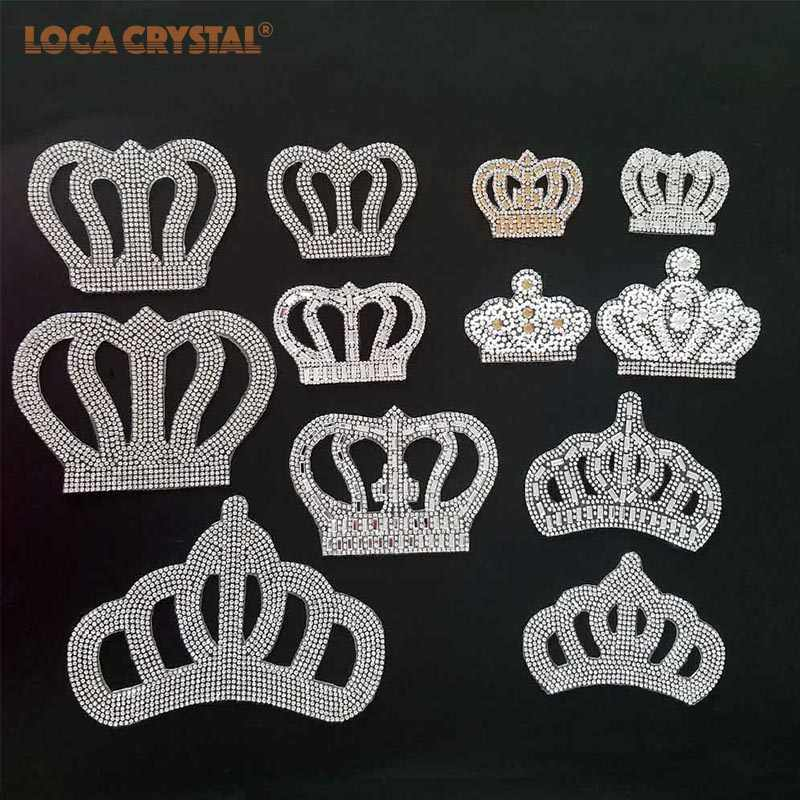 2 pcs bag White clear Crown Hot fix rhinestone patches Pearl Applique Women  Clothes Bride 0d487173ced6