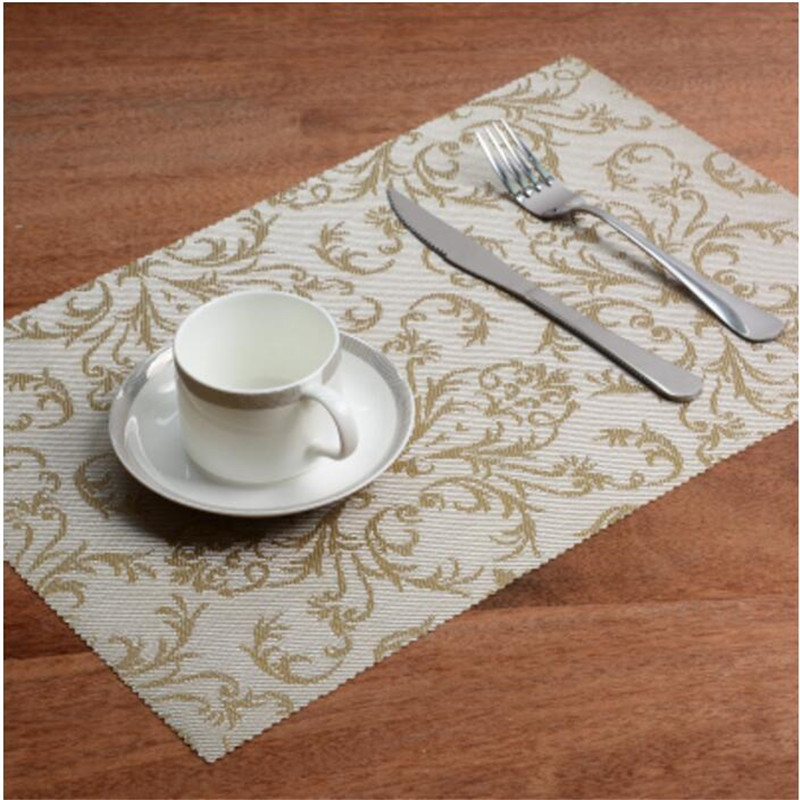 PVC Pattern Mat Dining Table Mats Waterproof Insulation Rectangle Table Tray Pad Napkin Home Accessories JJ178