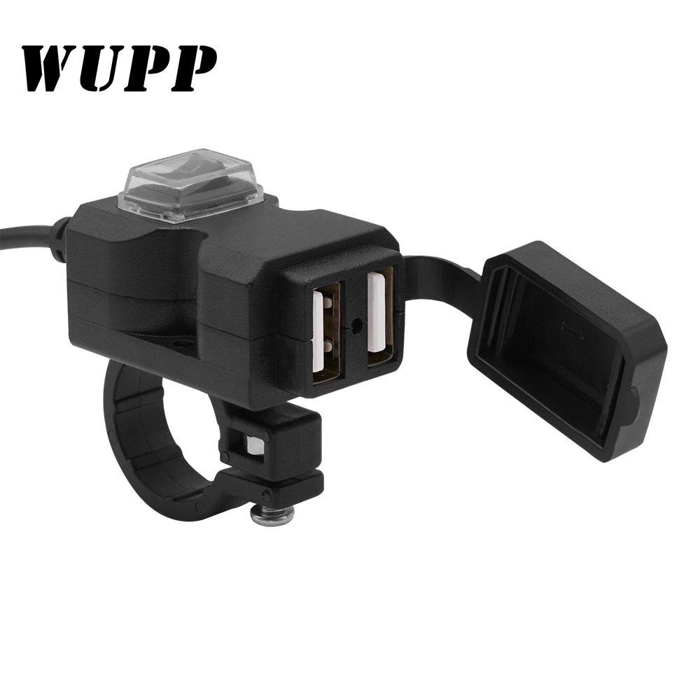 WUPP Dual USB Motorcycle Charger 5V 1A/2.1A Adapter Power Supply Socket For Phone 9-24V/9-90V Waterproof  Charger