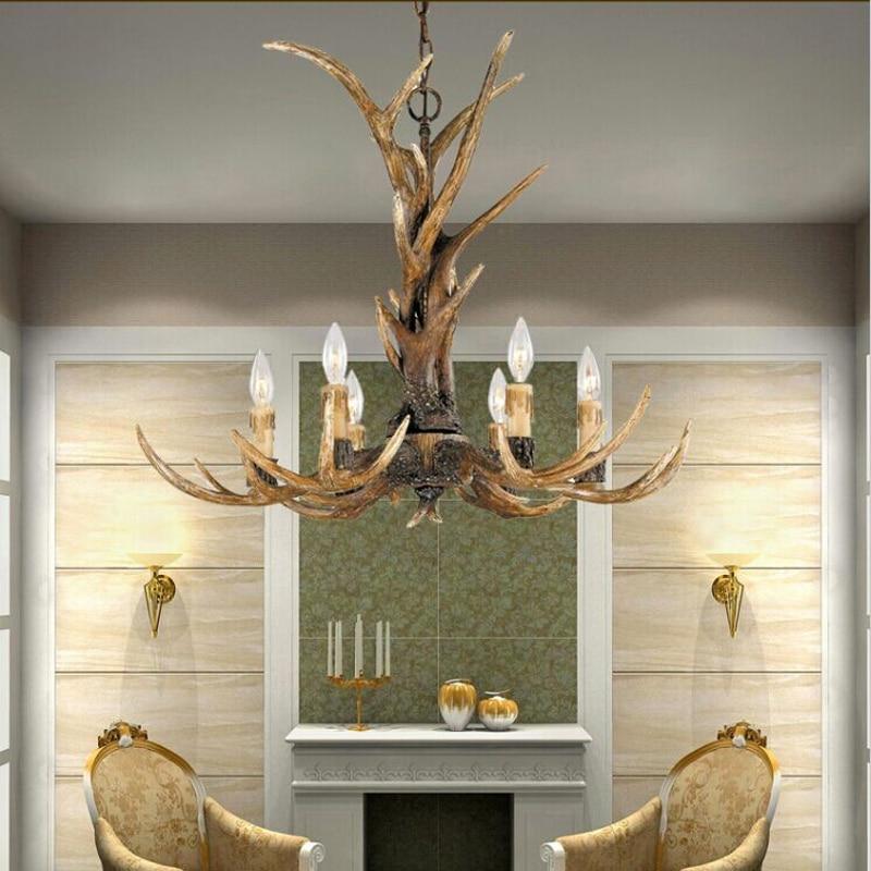White/Black/Brown American 6 Heads Retro Resin Antler Bedroom Pendant Lamp Europe Country Ceiling Fixture Home Lighting
