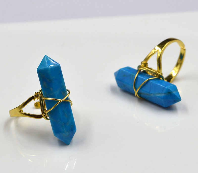 YA1926 niebieski Howlite kamień punkt złoty drut owinięty pierścień regulowany 32x8mm