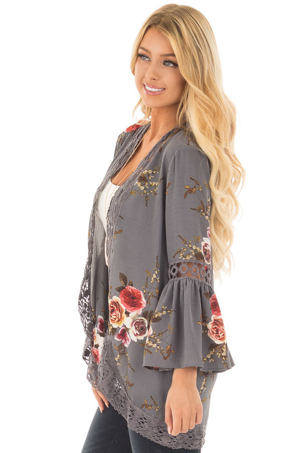 HTB1nqUzkGAoBKNjSZSyq6yHAVXav Women Plus Size Loose Casual Basic Jackets Female 2018 Autumn Long Flare Sleeve Floral Print Outwear Coat Open Stitch Clothing