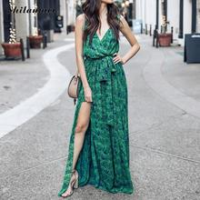Summer Green Deep V Neck Chiffon Boho Beach Dress Leaf Print Sleeveless Maxi Dress Loose Sexy Side Slit Vintage Bohemian Dresses vintage mesh panel leaf print dress