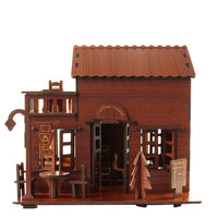 Kids Educational DIY 3D Puzzle Toys Wooden Assembly Coffee Shop
