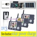 1v3 Solar power charger Video intercom systems/wireless door phone bell / camera record with remote-control free shipping