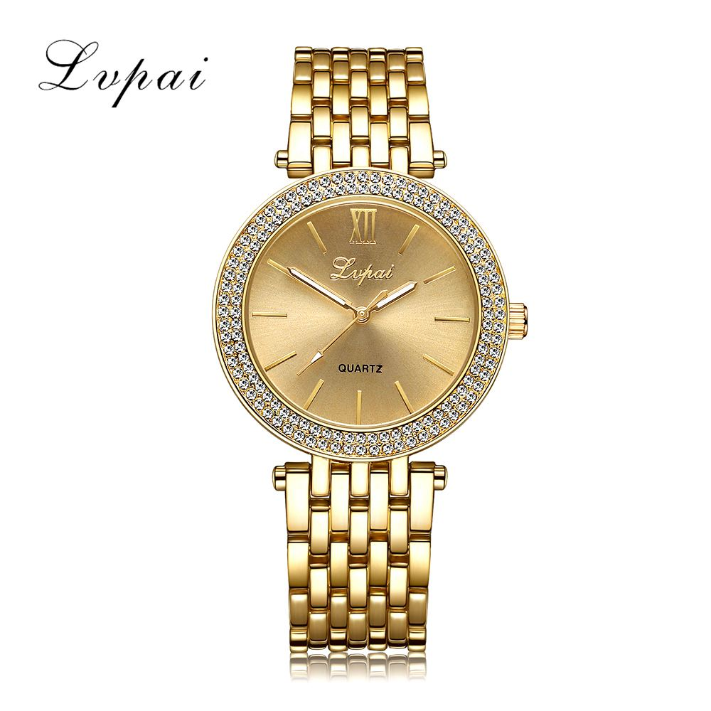 Lvpai Brand Women Gold Bracelet Watch Luxury Rhinestone Dress Fashion Sport Wristwatch Ladies Dress Business Quartz Watch LP022 lvpai fashion brand women watch rhinestone gold full steel quartz wristwatch girl lady women dress gift luxury fashion watches