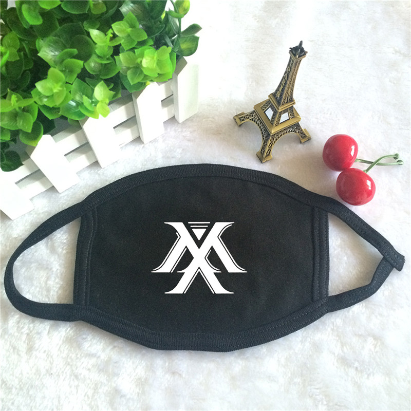 Kpop MONSTA X Be Beautiful Album World Tour Logo Print K-pop Fashion Face Masks Unisex Cotton Black Mouth Mask