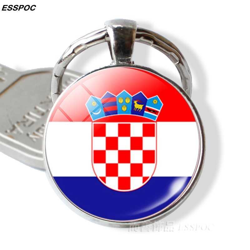 Флаг стран брелок Испания Италия Португалия Греция Румыния Хорватия Флаг Андорры изображение Стекло кабошон Подарочная цепочка для ключей