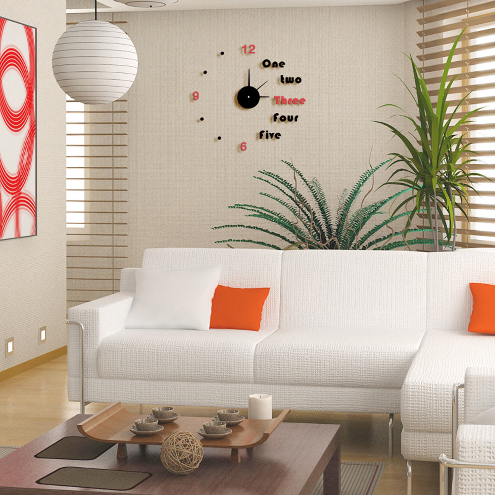 2016 Modern Diy Red Black Color Home Removable Decoration Acrylic Gl Wall Clock In Clocks From Garden On Aliexpress Alibaba Group