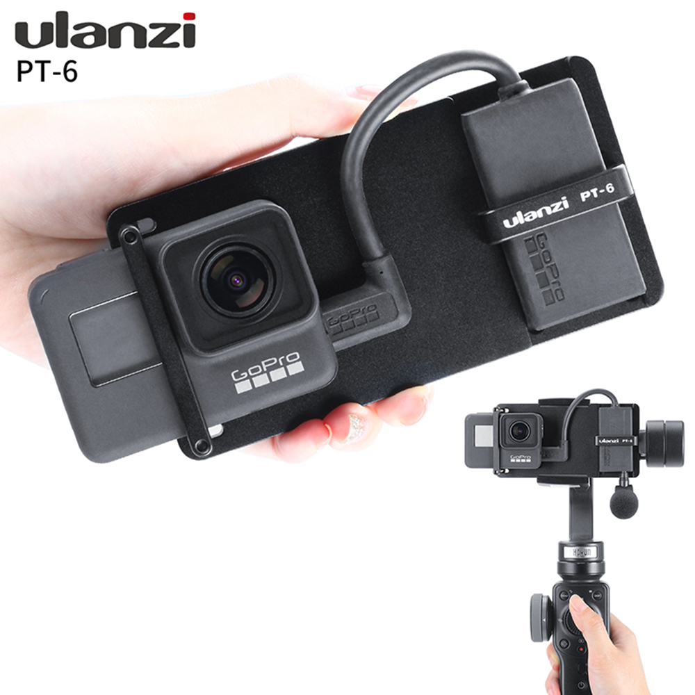Ulanzi PT-6 <font><b>Gopro</b></font> Plate with Mic <font><b>Adapter</b></font> for 3-Axis Gimbal Moza Mini S Zhiyun Smooth 4 Feiyu Vimble 2 <font><b>Metal</b></font> Case for <font><b>Gopro</b></font> 7 6 5 image