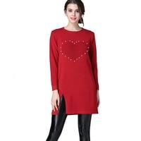 Frauen Winter Herbst Pullover Kleider Langarm Dicke Plus Samt Perle Herzen Element Split Basis Kleid Grundiert Vestido Inverno