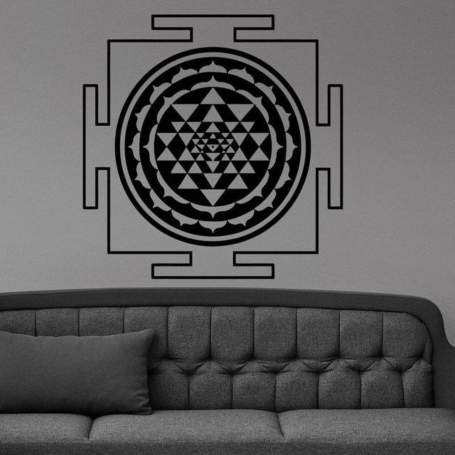 0904110a6 Sri Yantra Mandala Sacred Geometry Decal Sticker Wall Vinyl Sticker Art Home  Decor Room Yoga Mandala Om Meditate MT24
