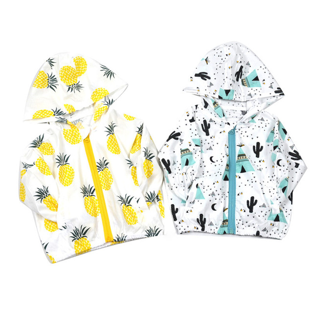 c8d3abdcf Summer Children Baby Sunscreen Jacket Hooded Printed Fruits Outerwear Kids  Coats Toddler Clothing Raincoat for beach