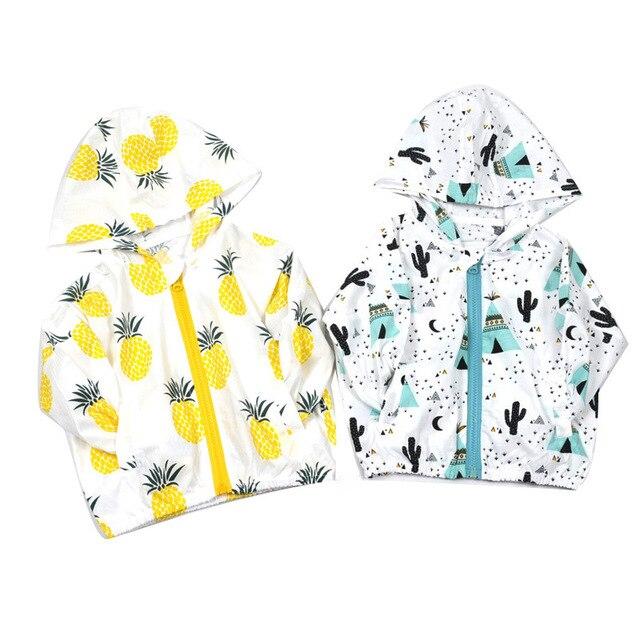 Été Enfants Bébé Solaire Veste À Capuche Imprimé Fruits Survêtement Enfants Manteaux Bébé Vêtements Imperméable pour la plage