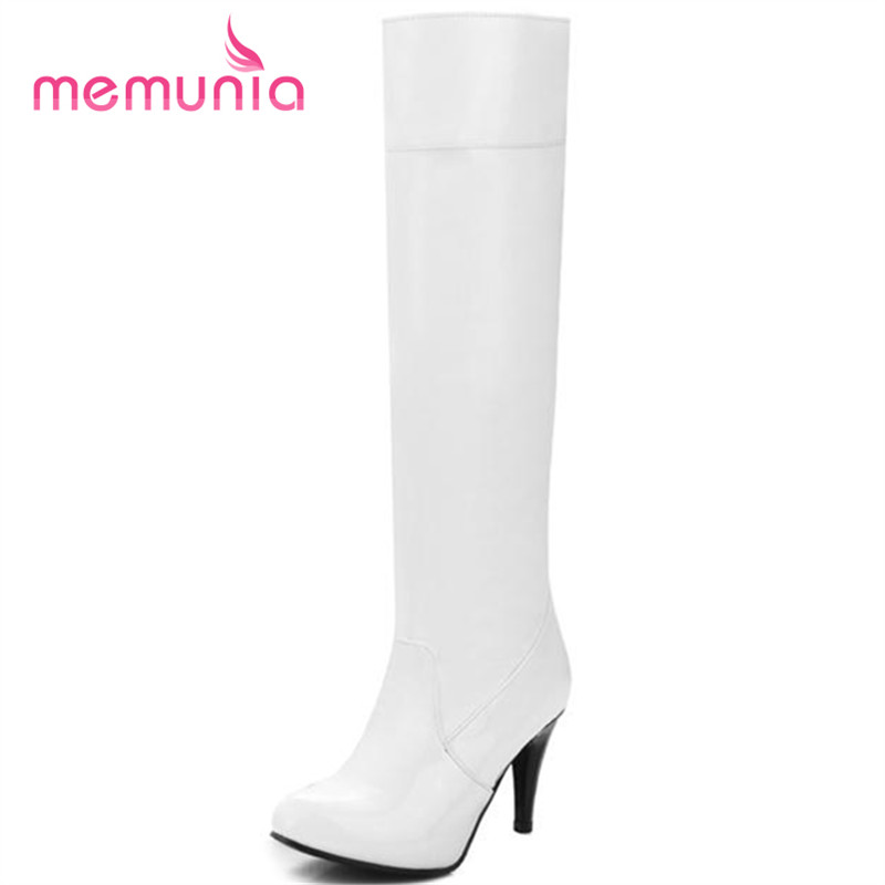 ФОТО MEMUNIA Patent pu leather high thin heels boots solid pointed toe women autumn boots contracted big size knee high boots