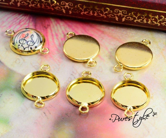 16pcs 12mm Inner Size Gold Plated Brass Material Simple Style Cabochon Base Cameo Setting Charms Pendant Tray (A1-24)