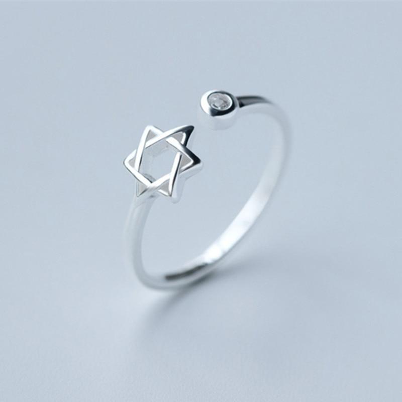 Wholesale 10pcs 2015 New Star of David Magen Hebrew Shield Open Adjustable 925 Silver Ring   Jewish Star Symbol Jewelry Gift