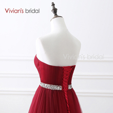 Vivian's Bridal Sweetheart Burgundy Evening Dress A Line Backless Prom Dress Sequin Belt Tulle Formal Evening Gown 16422