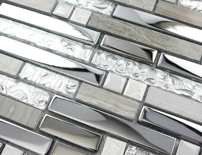 Tira gris metal color mezclado mosaico de vidrio y piedra for Pegatinas azulejos cocina